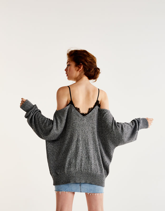 Sweater with lace neckline