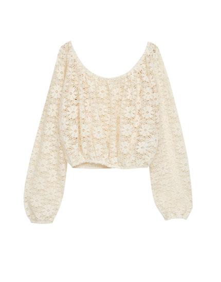 Top crop crochet manga larga