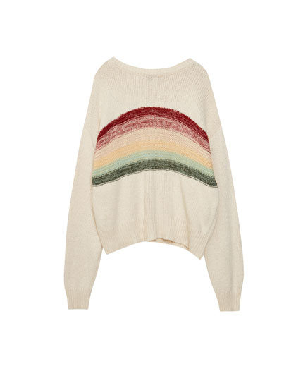 Sweater with rainbow front