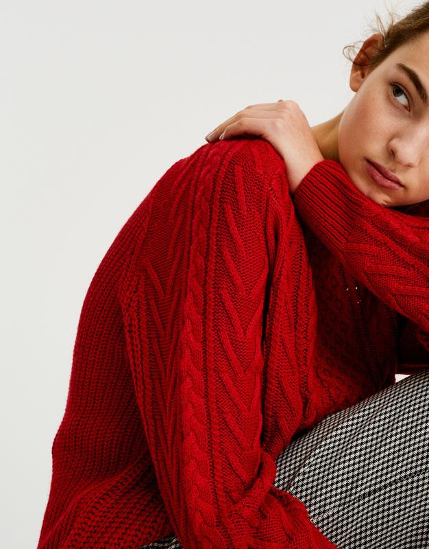 Pull&Bear - femme - vêtements - maille - pull maille torsadée - rouge - 09557330-I2017