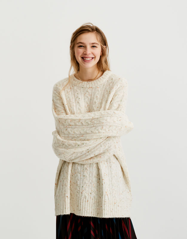 Pull&Bear - femme - vêtements - maille - pull tweed torsades - écru moyen - 09557398-I2017