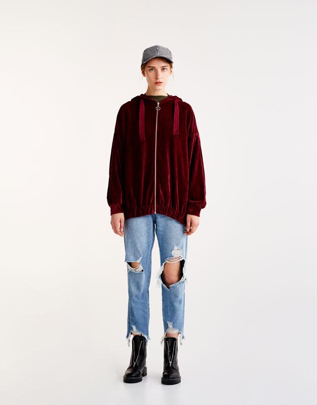 Oversized velvet cardigan