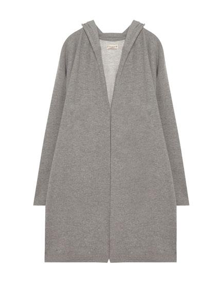 Plush long hooded jacket