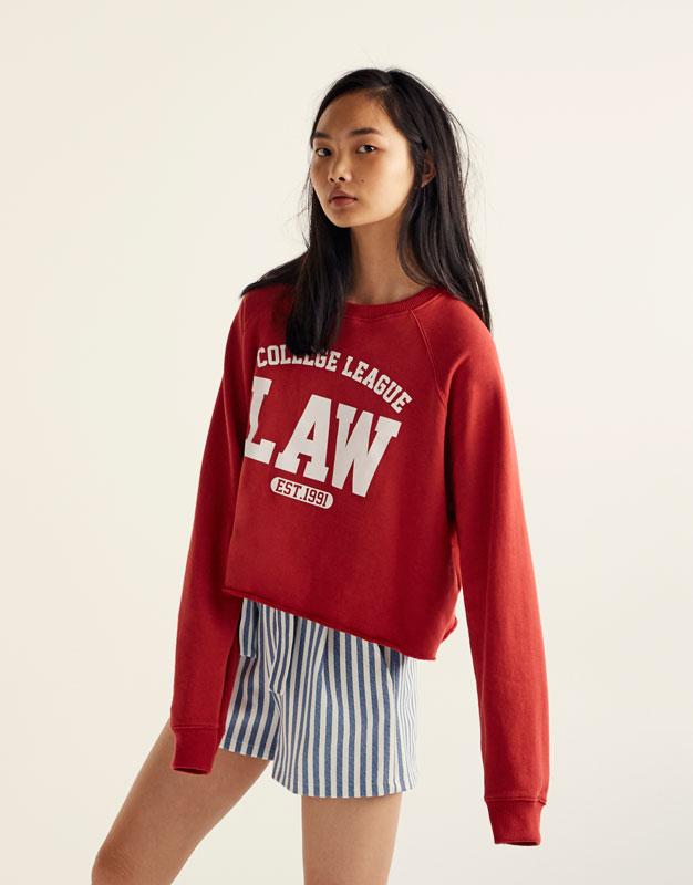 Printed 'College League' sweatshirt
