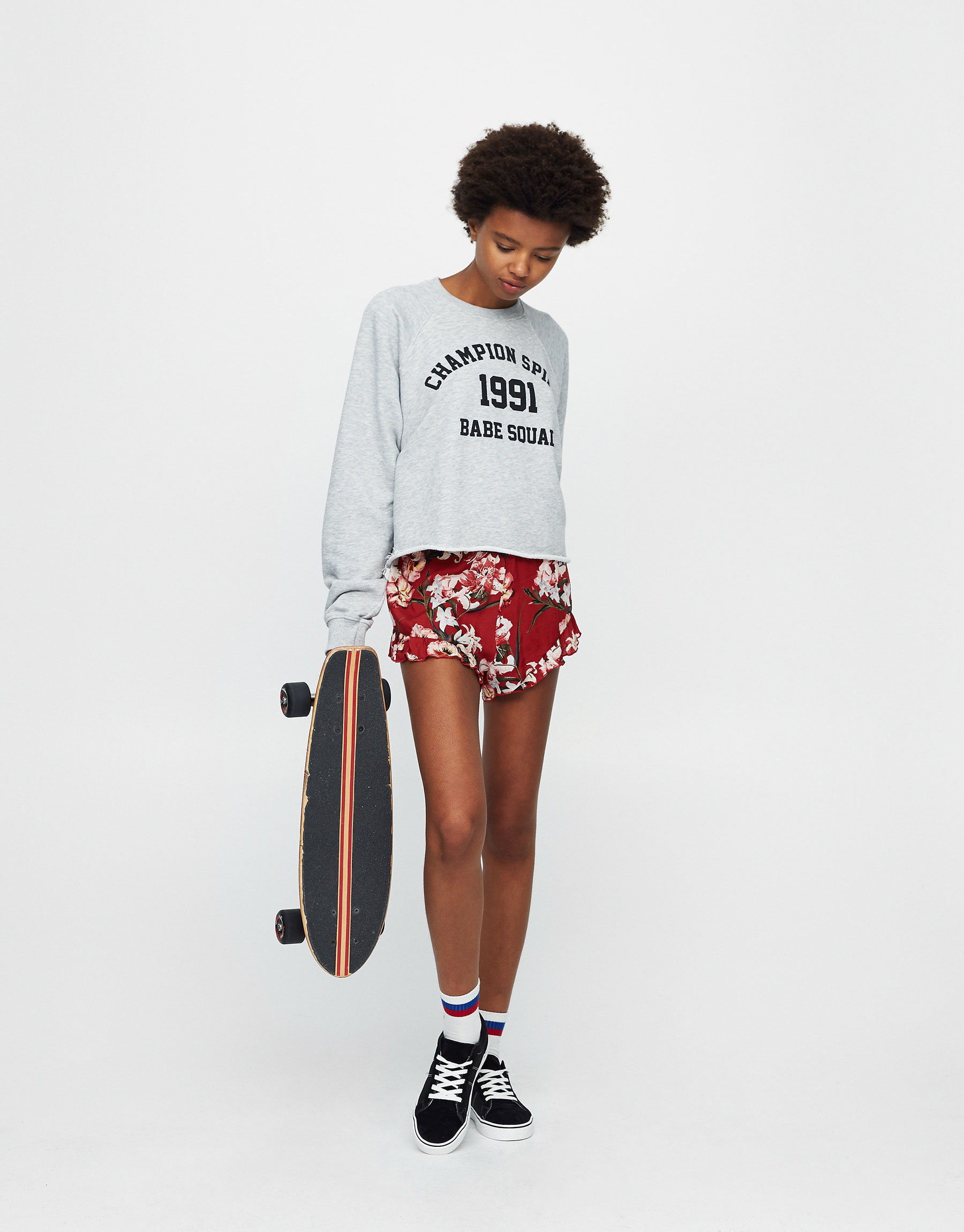 Printed sweatshirt with 'Gang' slogan
