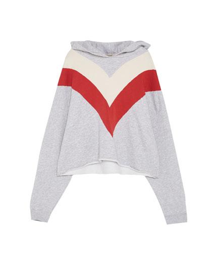 Sweatshirt mit Colour-Blöcken und Kapuze