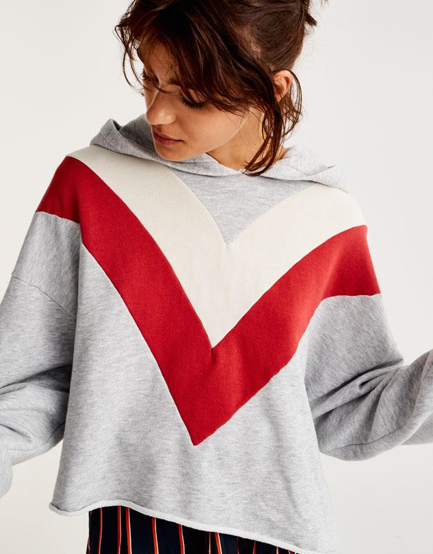 Colour block sweatshirt with hood