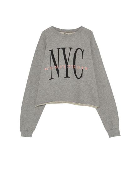 Cropped 'NYC' sweatshirt