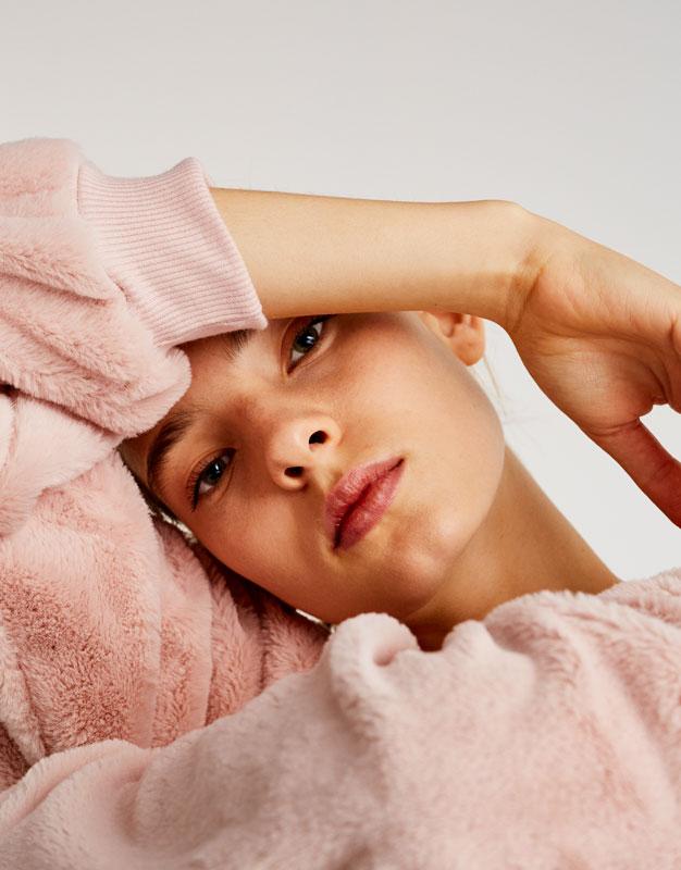 Pull&Bear - femme - vêtements - sweat - sweat fausse fourrure soft - rose sale - 09593354-I2017