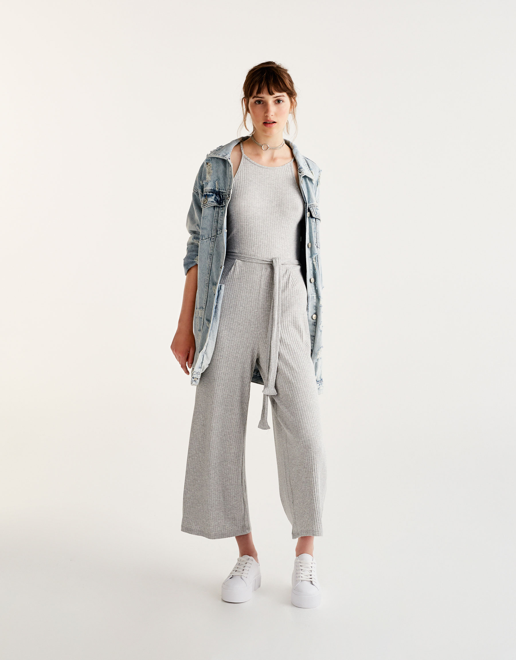Ribbed culottes jumpsuit