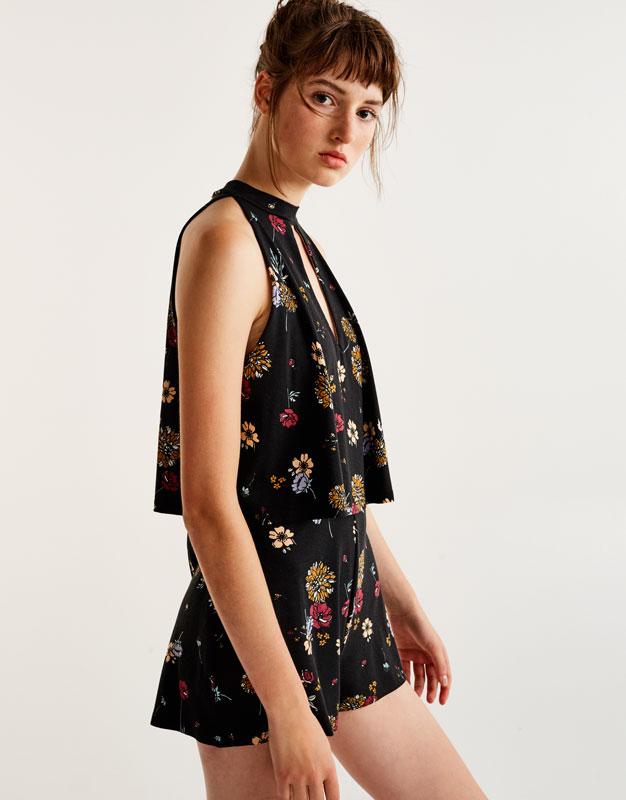 Layered floral choker neck jumpsuit
