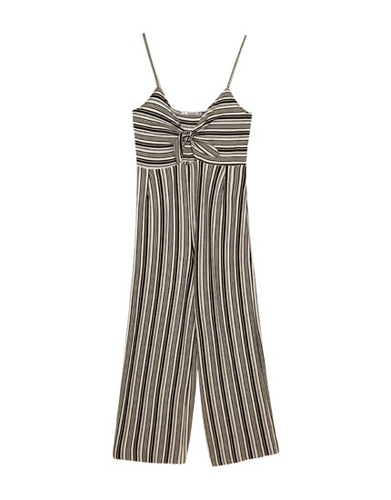 Striped culotte jumpsuit with knotted neckline