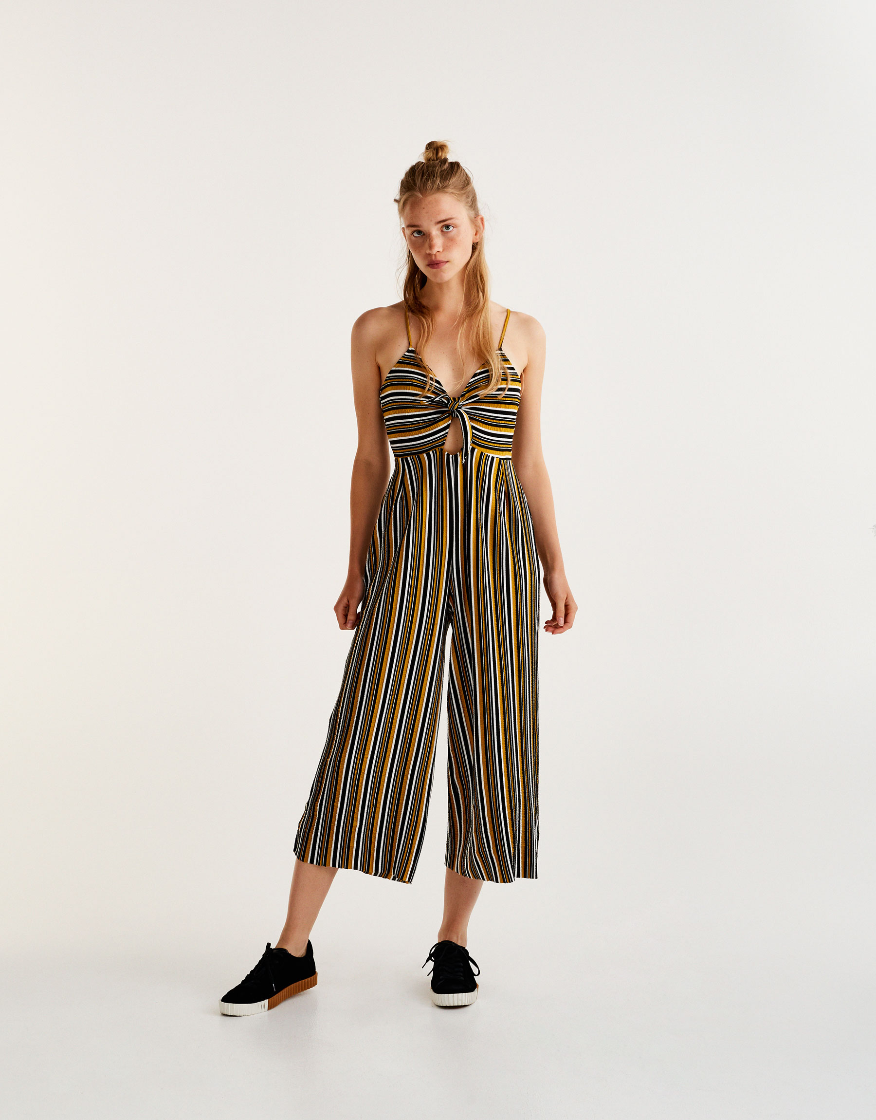 Striped culotte jumpsuit in mustard yellow