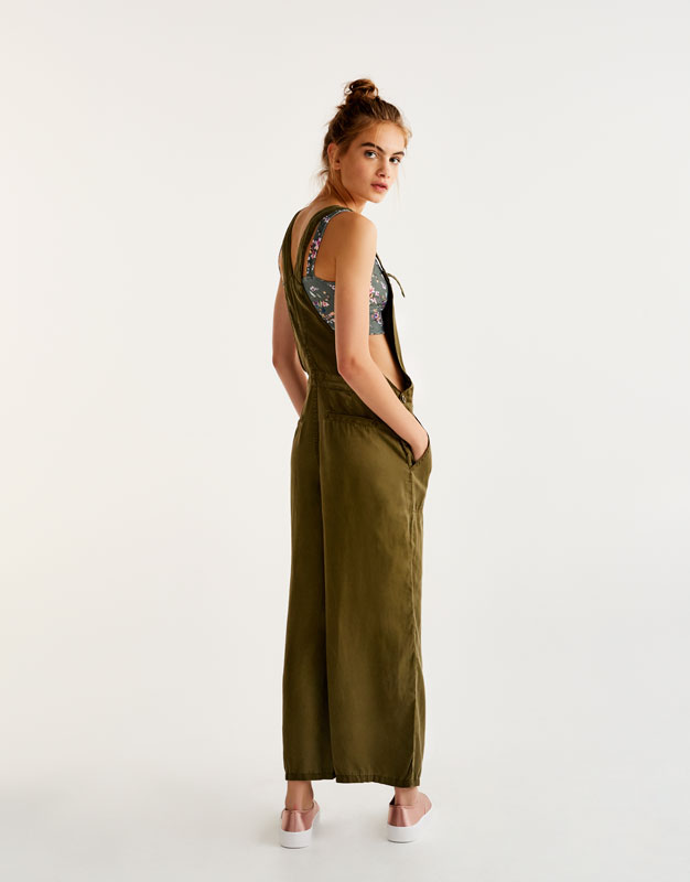 Oversized A-line dungarees