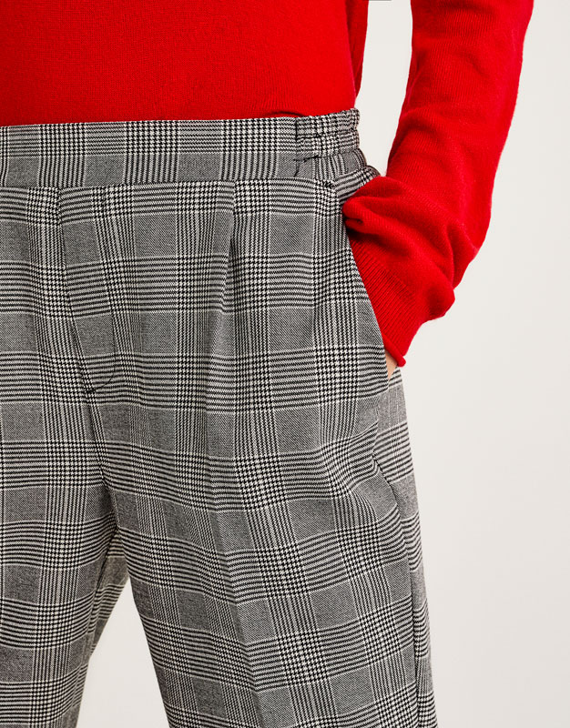 Tailored fit checked jogging trousers