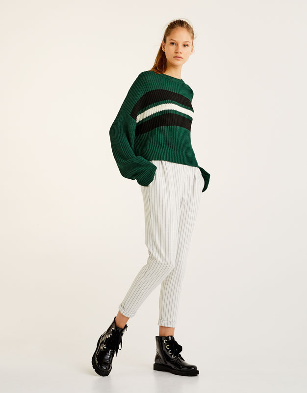 Striped baseball-style jogging trousers