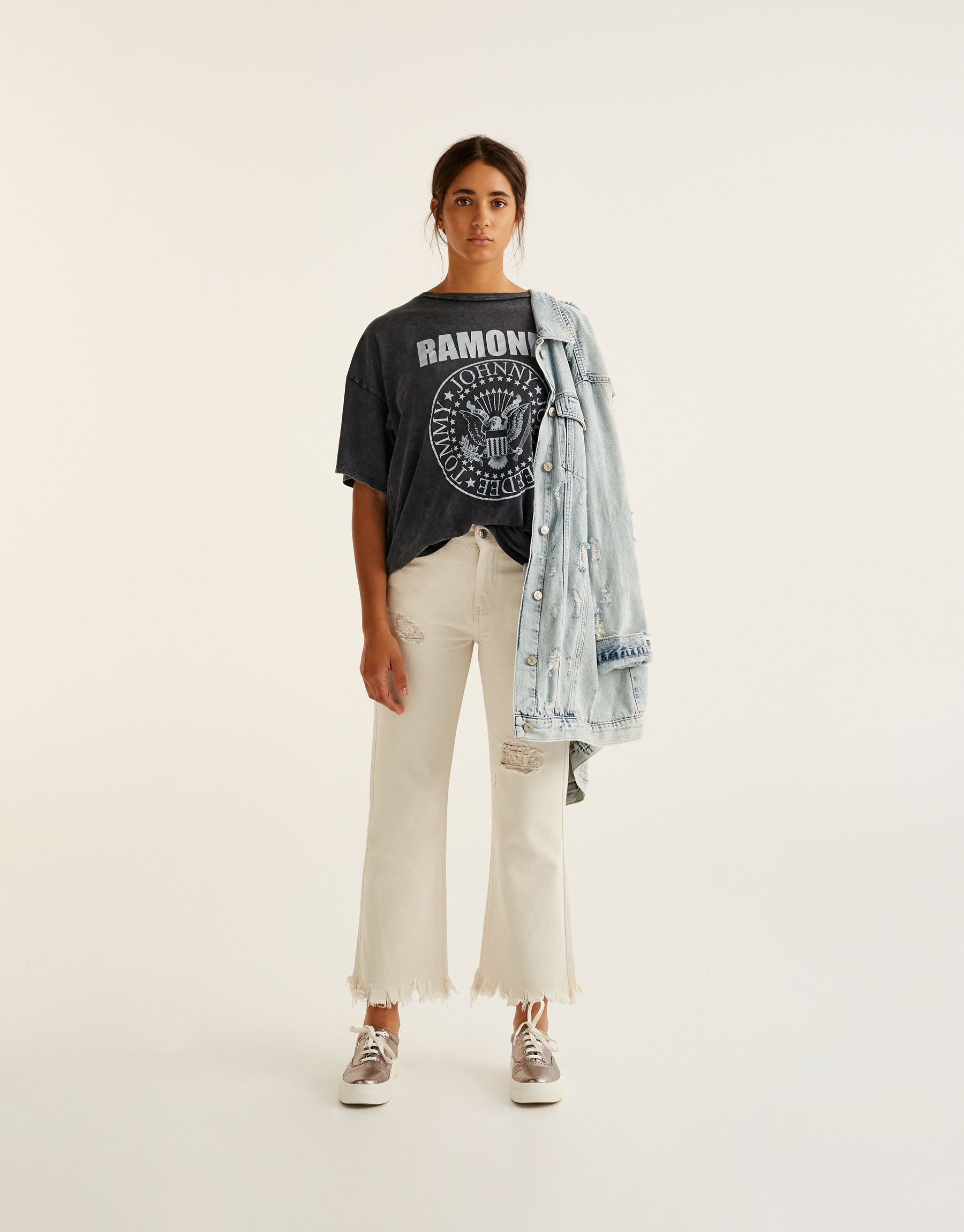 Ecru kick flare jeans