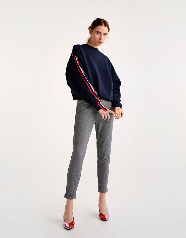 Pull&Bear - femme - vêtements - favoris des soldes - pantalon style tailoring imprimé pied-de-poule - noir - 09681334-I2017