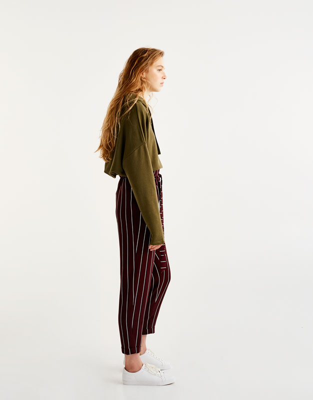 Tailored trousers with tied waist