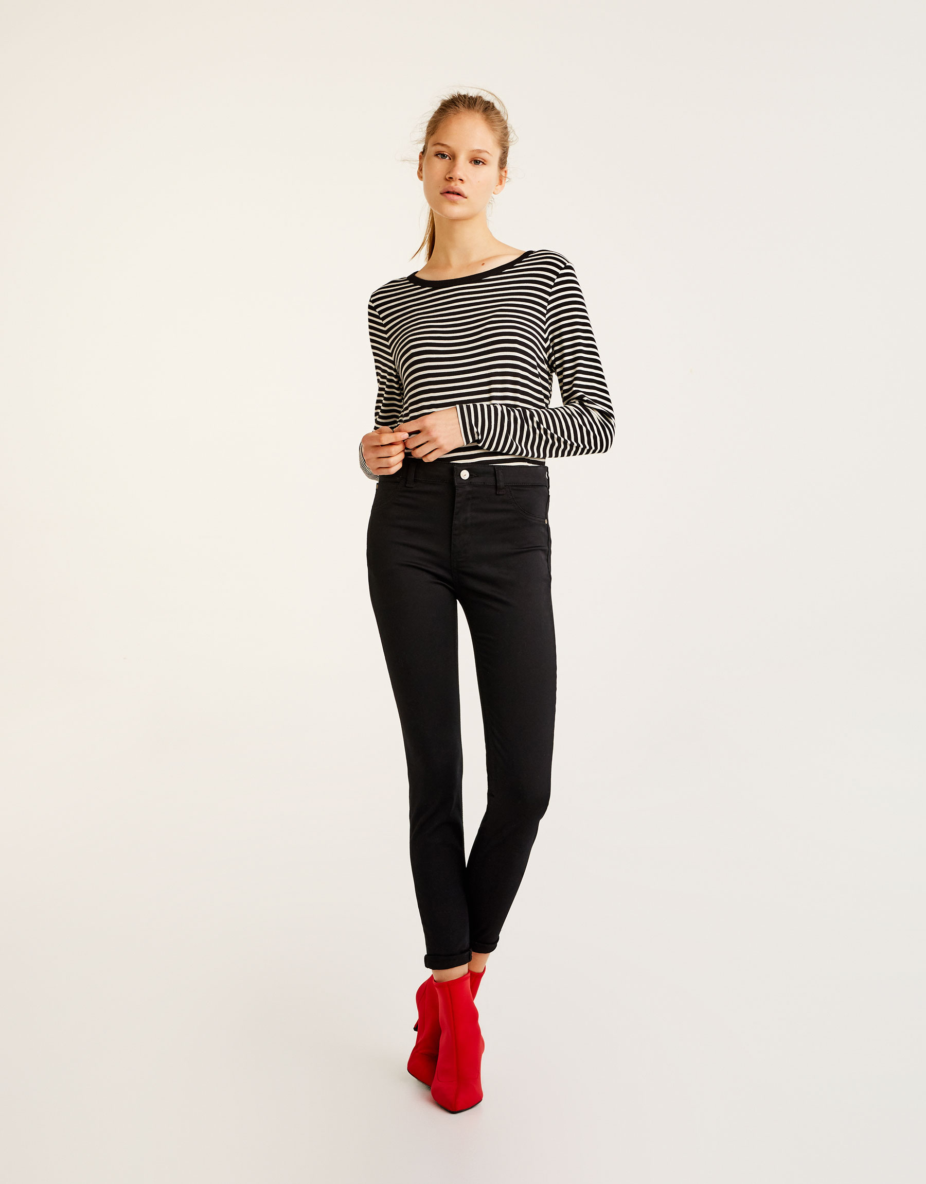 Mid-rise skinny fit trousers