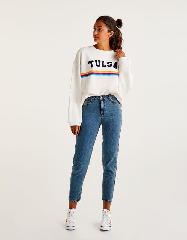 Pull&Bear - femme - vêtements - jeans - jean mom fit - bleu délavé - 09685208-I2017