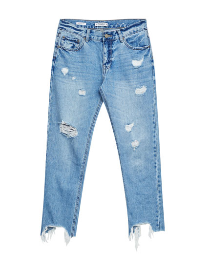 Straight fit jeans with ripped hem