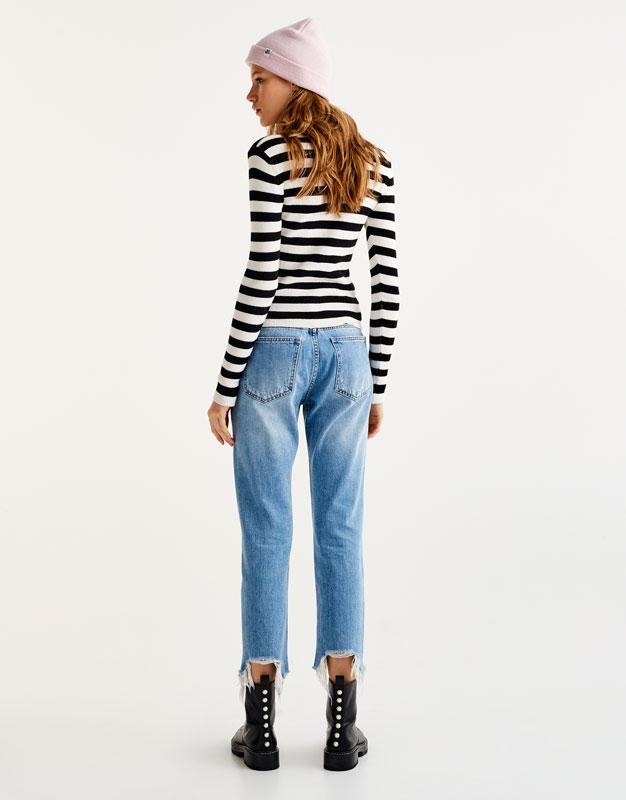 Jeans rectos bajo roto tiro bajo