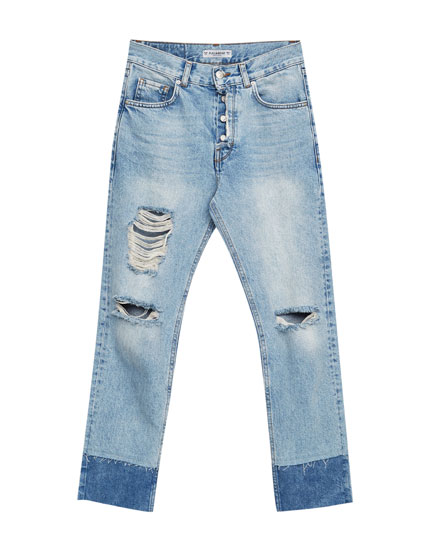 Straight leg jeans with double hem