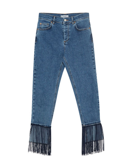 Cigarette jeans with fringe
