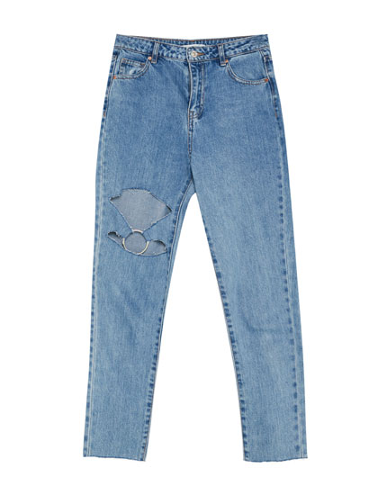 Ripped mom jeans with hoop detail