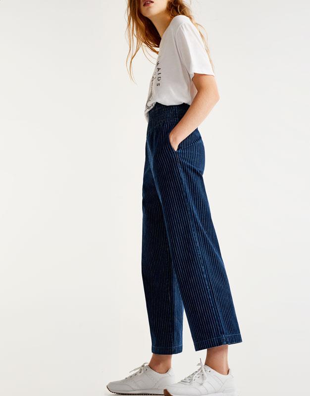 Pantalón denim rayas culotte cintura alta