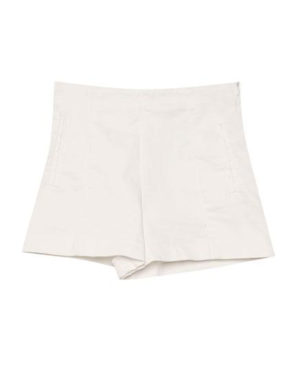 Shorts aus Satin mit hohem Bund