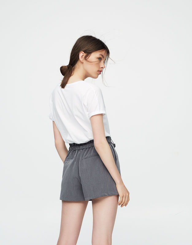 Tailored shorts with bow belt