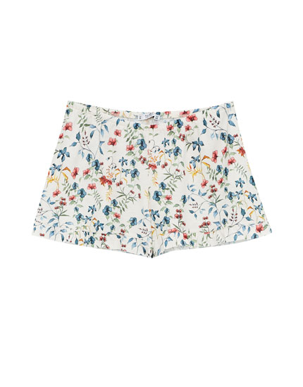 Floral print shorts with frilled hem