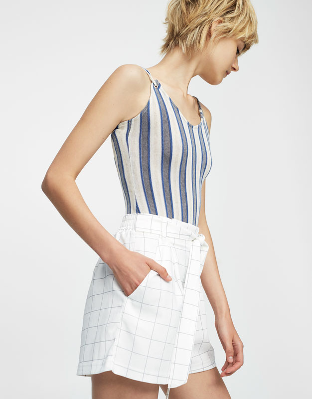 Checked tailored shorts with bow belt