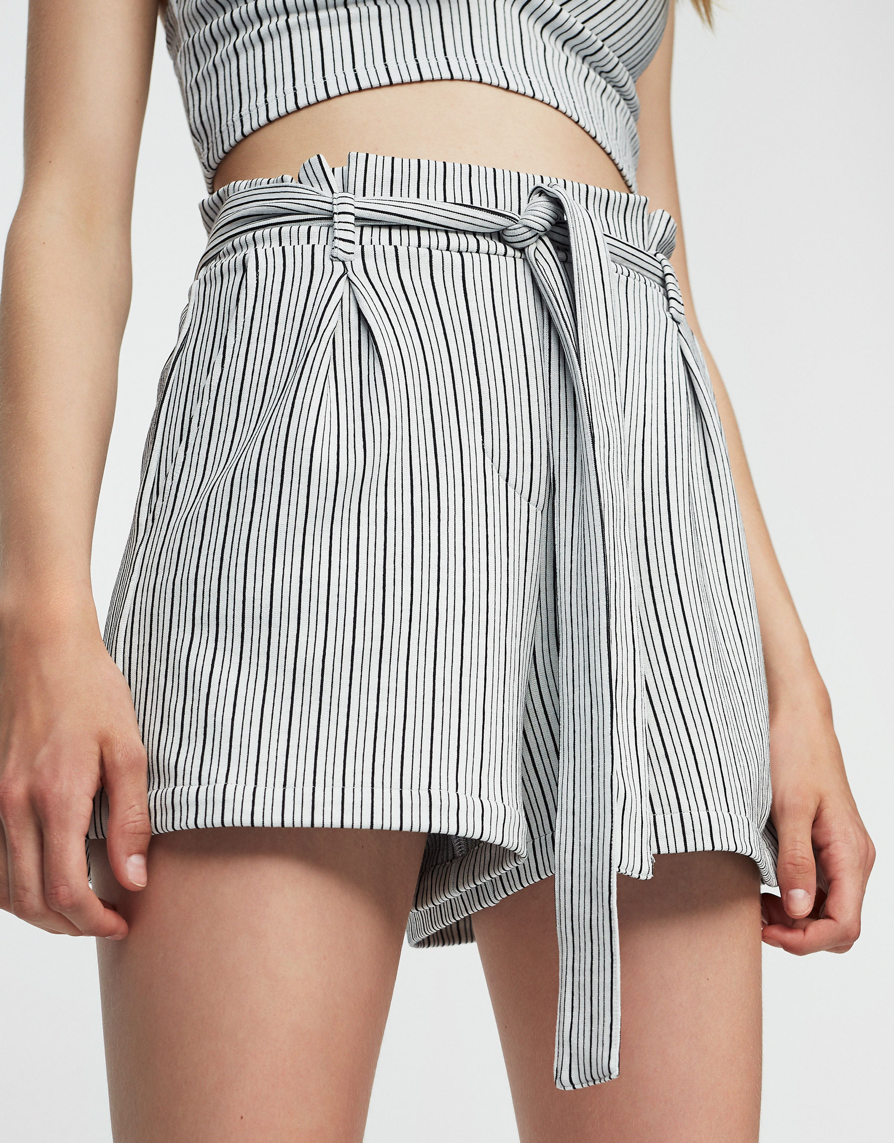 Striped tailored shorts with bow belt