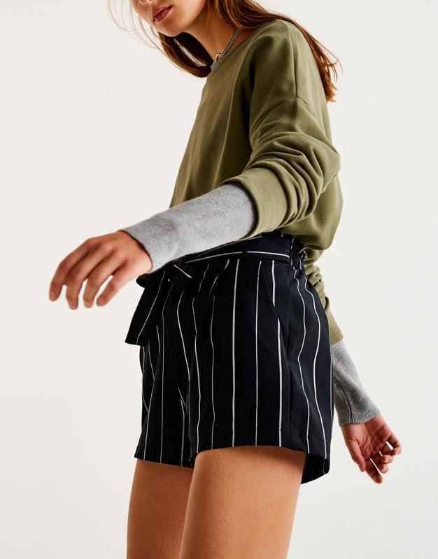 Short rayas tailoring cinturón lazo