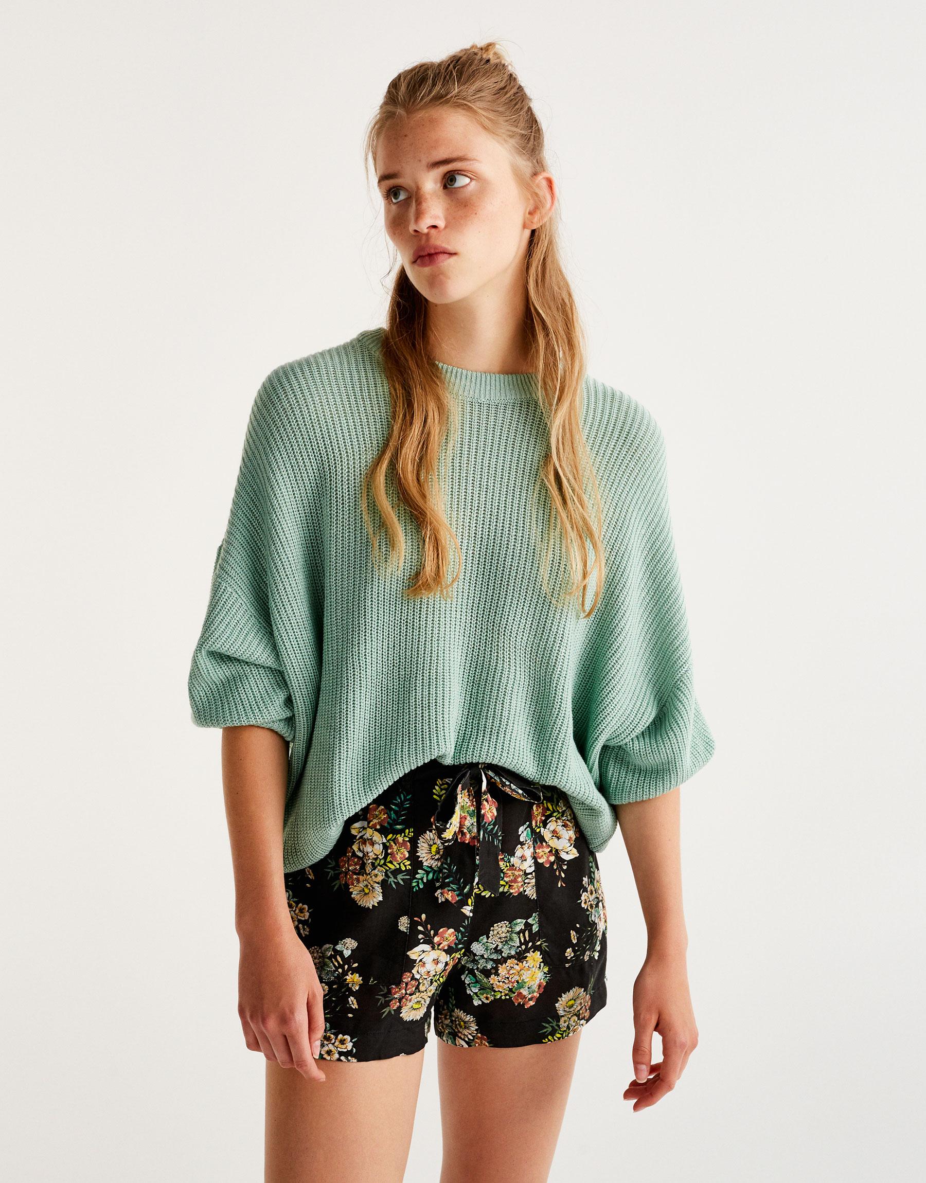 Floral print paperbag shorts