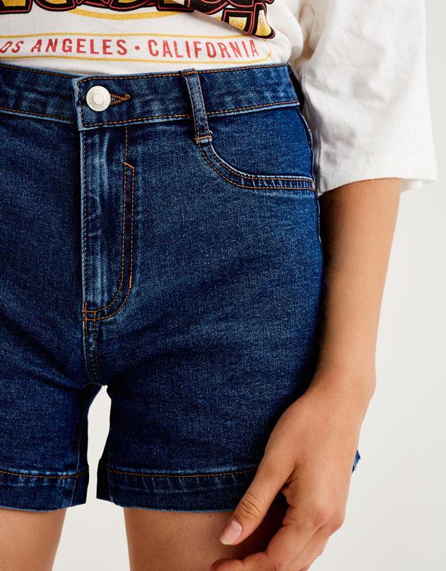 Mid-rise denim shorts