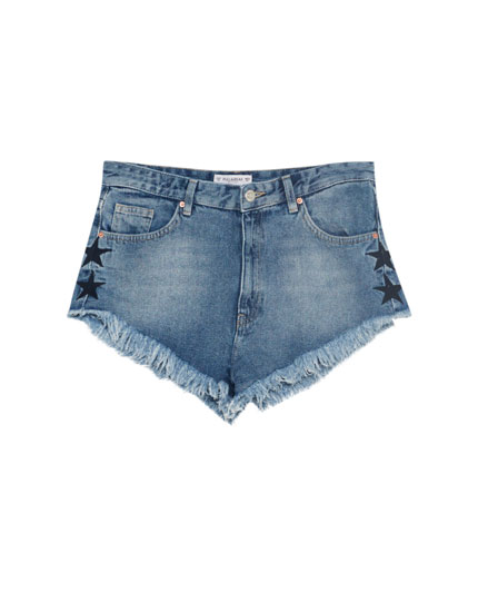Denim shorts with embroidered star