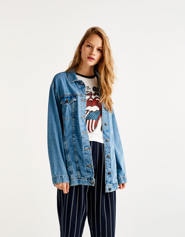 Long-Fit Oversize-Jeansjacke