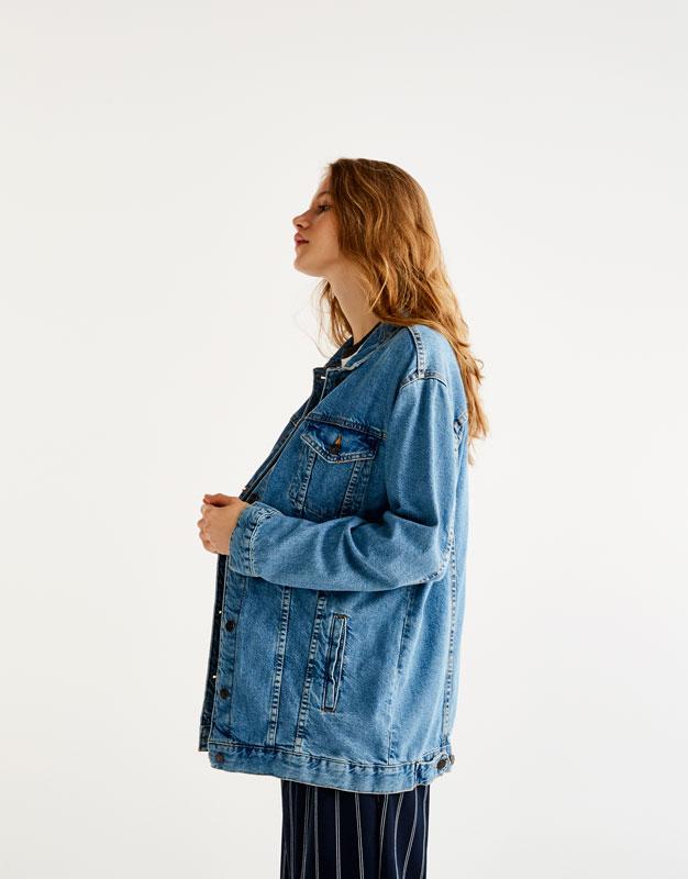 Long fit denim jacket