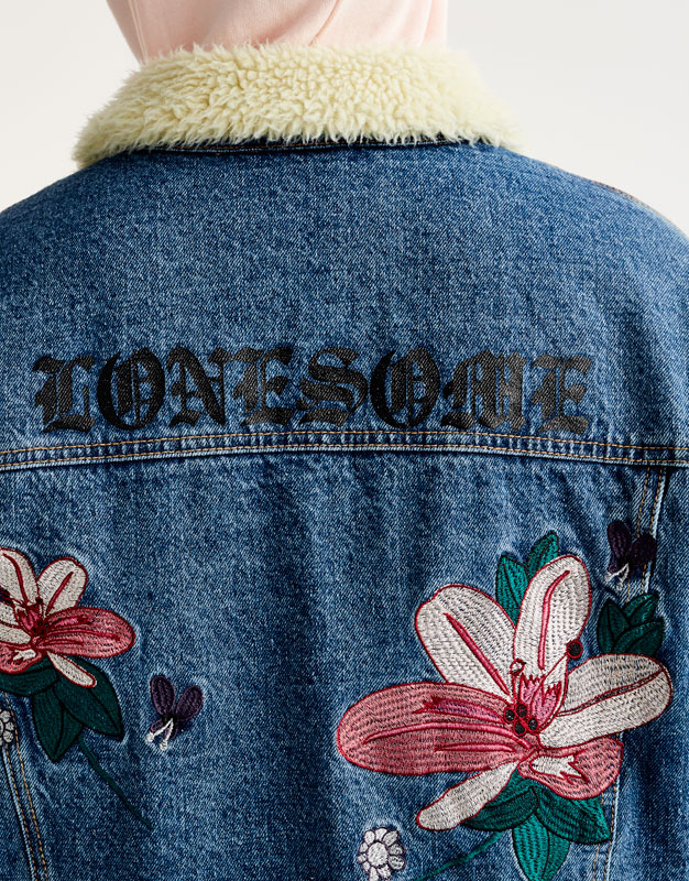 Denim Sherpa jacket with embroidery