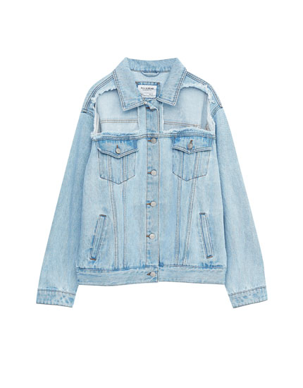 Denim jacket with cut out details