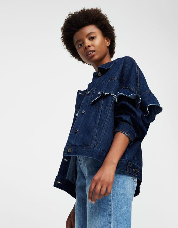 Veste en jean oversize volants