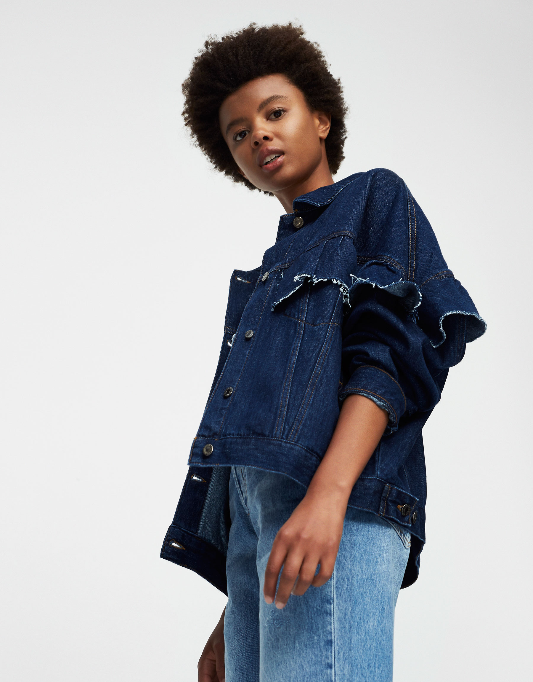 Oversized ruffled denim jacket