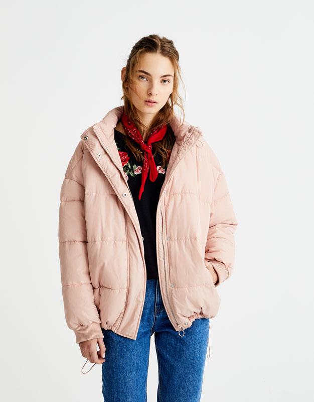 Pull&Bear - femme - vêtements - manteaux et blousons - blouson matelassé à capuche - rose pastel - 09713311-I2017