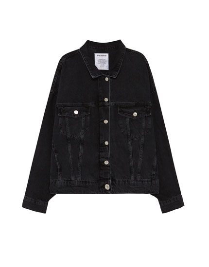 Oversized denim jacket with criss-cross lace-up sleeves