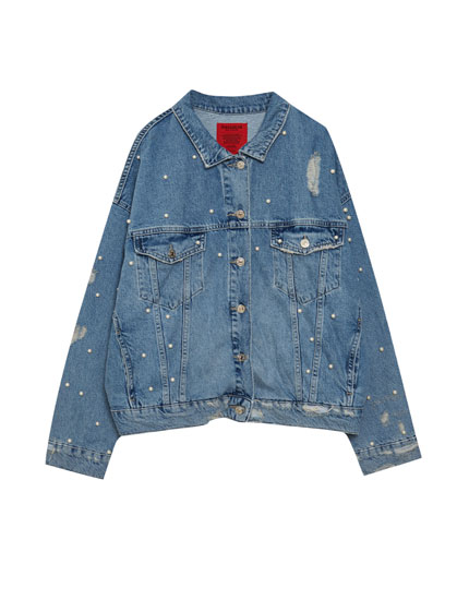 Oversized denim jacket with all over faux pearls