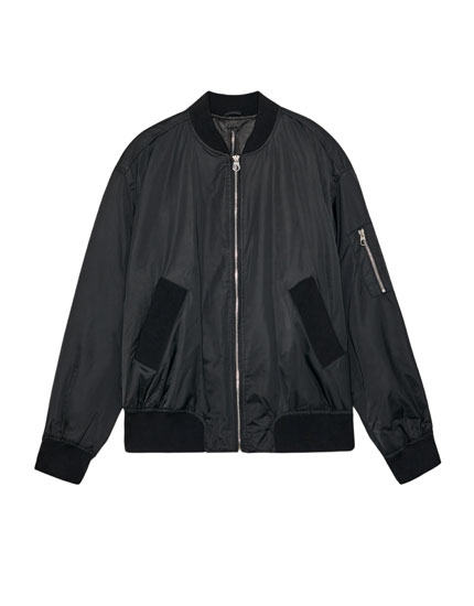 Bomber jacket with zip in back